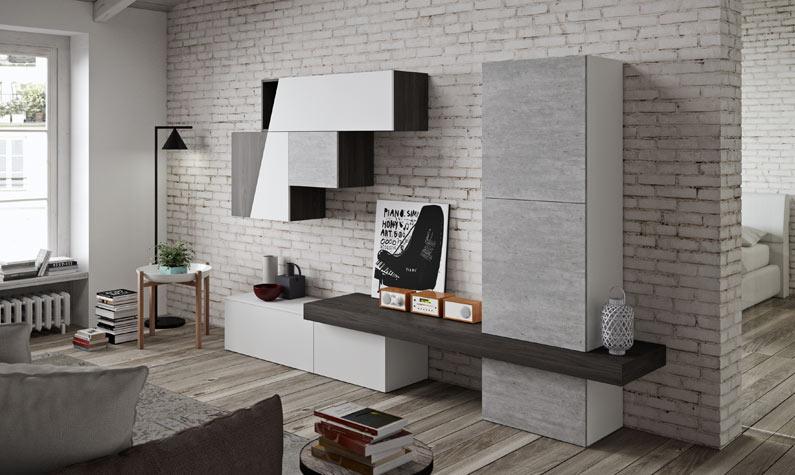 soggiorno moderno diagonal 4.11 - bianco e cemento