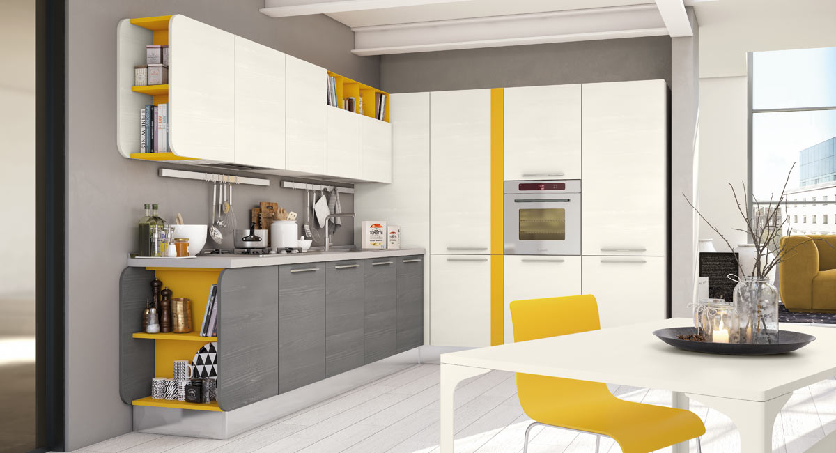Cucina angolare 5 soluzioni originali idee di arredo - Cucine moderne gialle ...